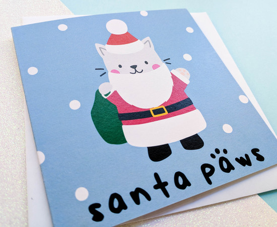 Funny Cat Christmas Card Santa Paws