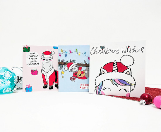 Multipack Christmas Cards Santa Hat Llama Unicorn Sloth