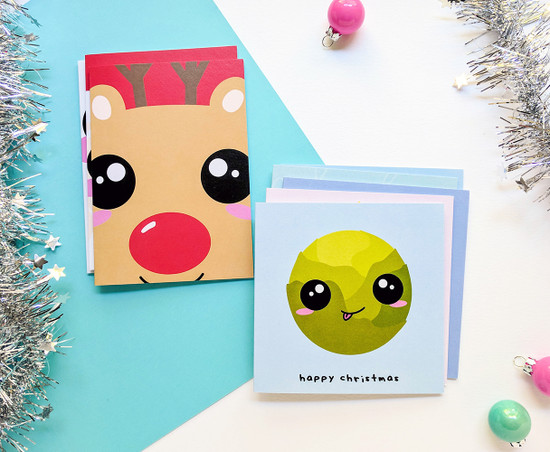 Kawaii Christmas Cards Pack Assorted