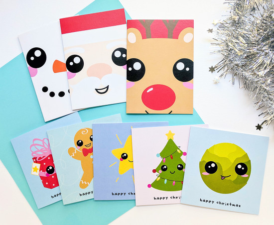 Kawaii Christmas Set of Cards Cute and Fun