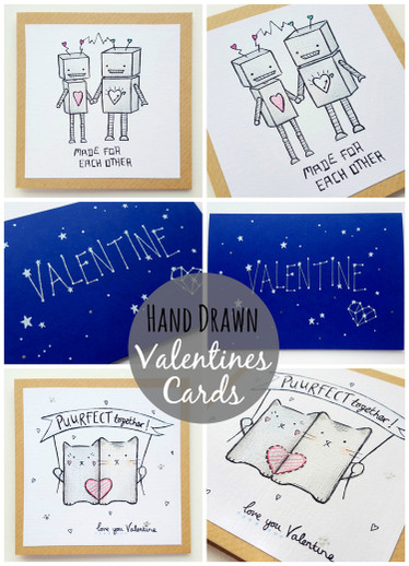 New Designs: Hand Drawn Valentines Cards