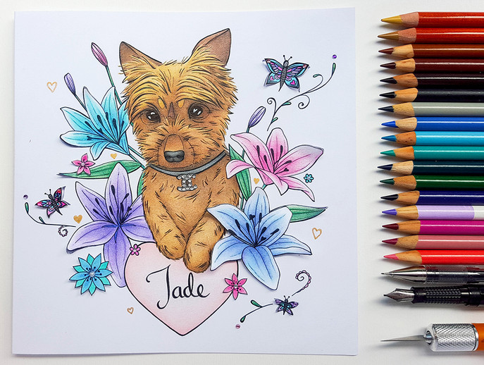 Bespoke Birthday Cards: Dog and Lilies Illustration