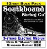 12-pack 3-string Cigar Box Guitar Strings - Open G/Standard - Electric Medium