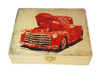"""Old Red Truck"" Illustrated Wooden Cigar Box - image printed in full color right on the box top!"