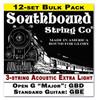 12-pack 3-string Cigar Box Guitar Strings - Open G Major/Standard Guitar Tuning - Acoustic Extra Light