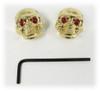 Voodoo Skull Knobs - One pair - Gold w/ jewel eyes