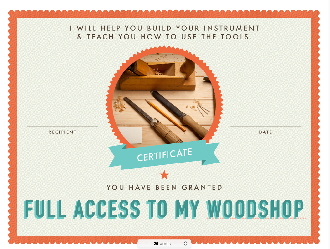 """""""Visit My Woodshop!""""  Give this gift certificate with your gifts - FREE PDF Download"""