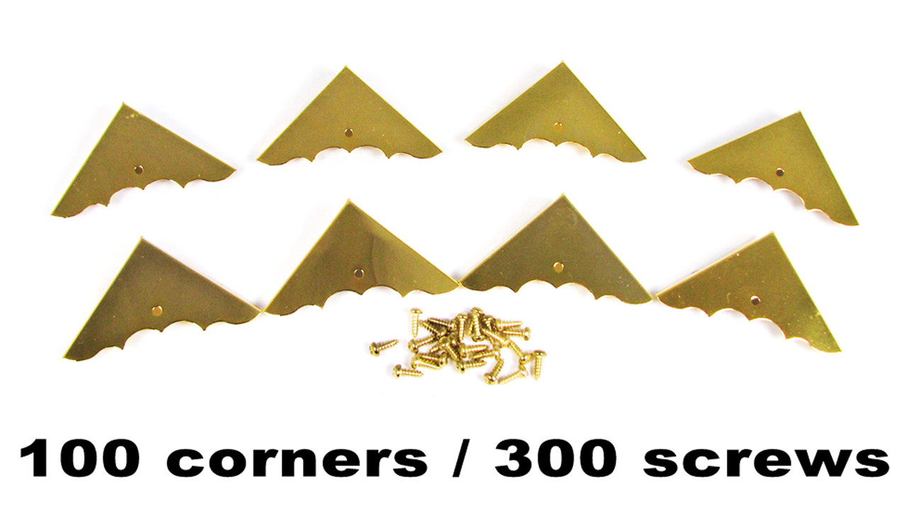100pc  Shiny Gold Box Corners with Screws