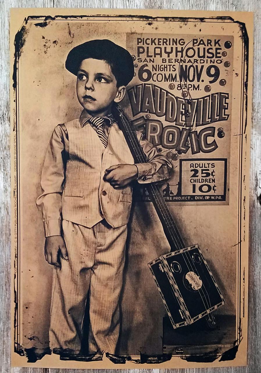 Vaudeville Frolic Cigar Box Guitar Poster 12 X 18 Inch C B