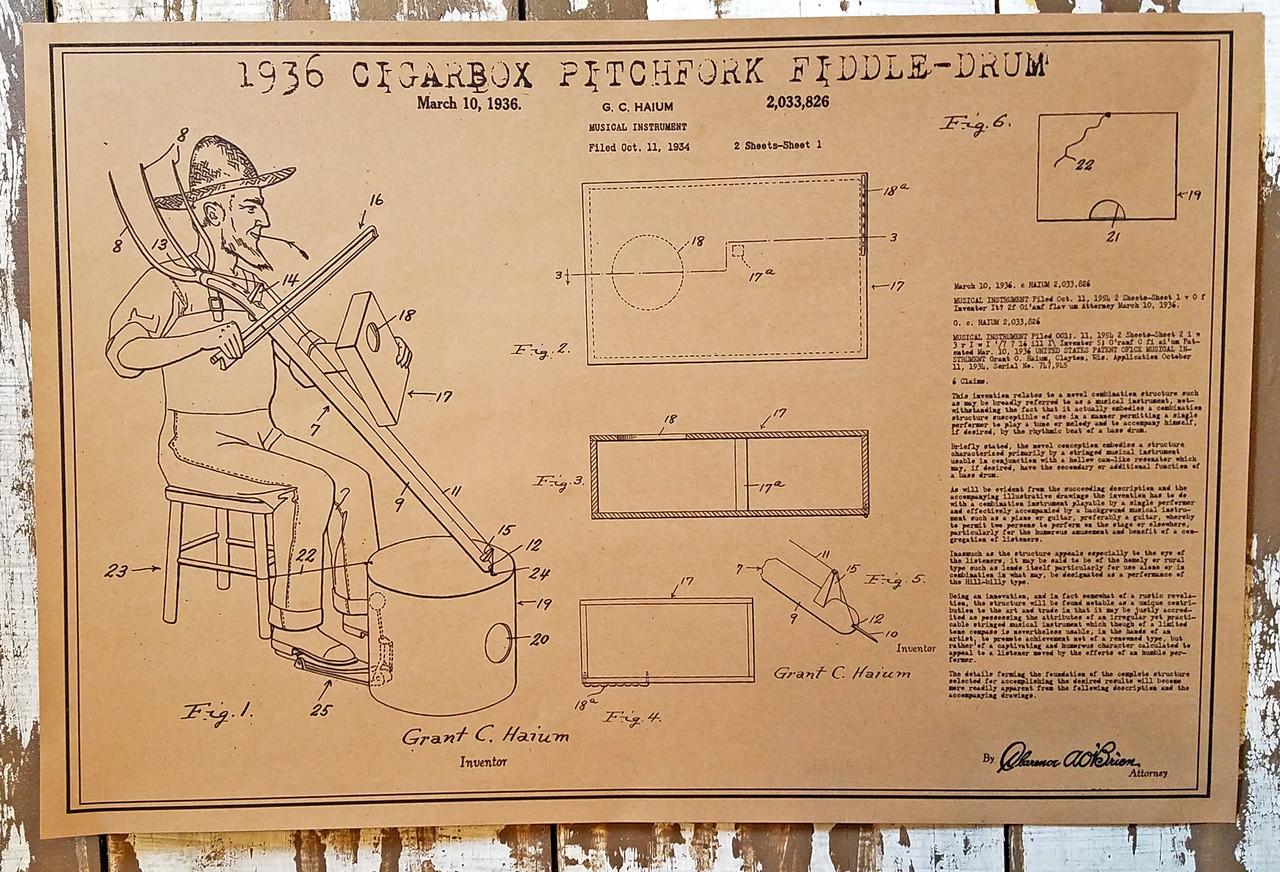 1936 Cigar Box Pitchfork Fiddle-Drum