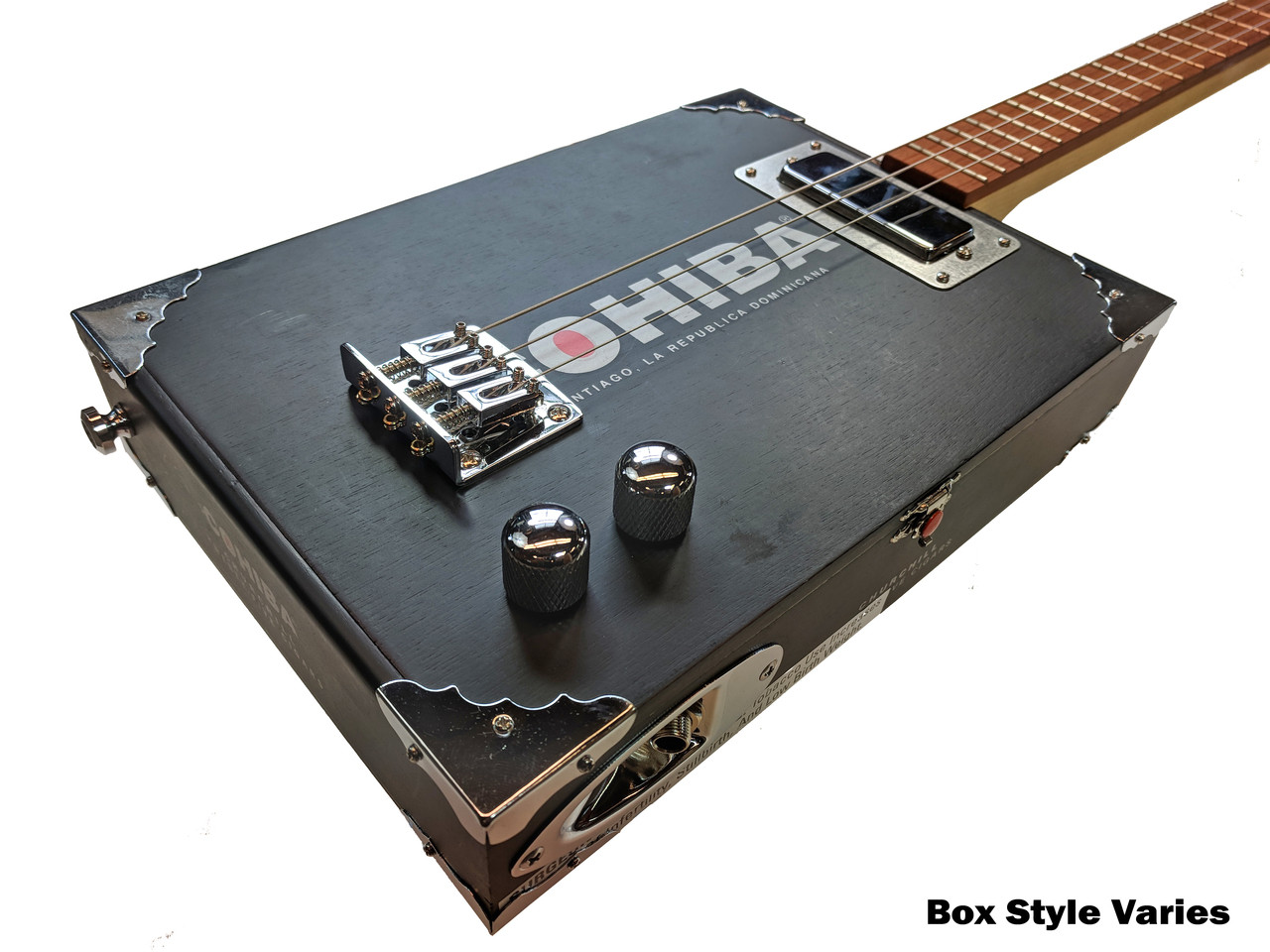 Guitar Bridge Chrome for Cigar Box 3 String Guitar w//3 String Cups Kit Ships USA