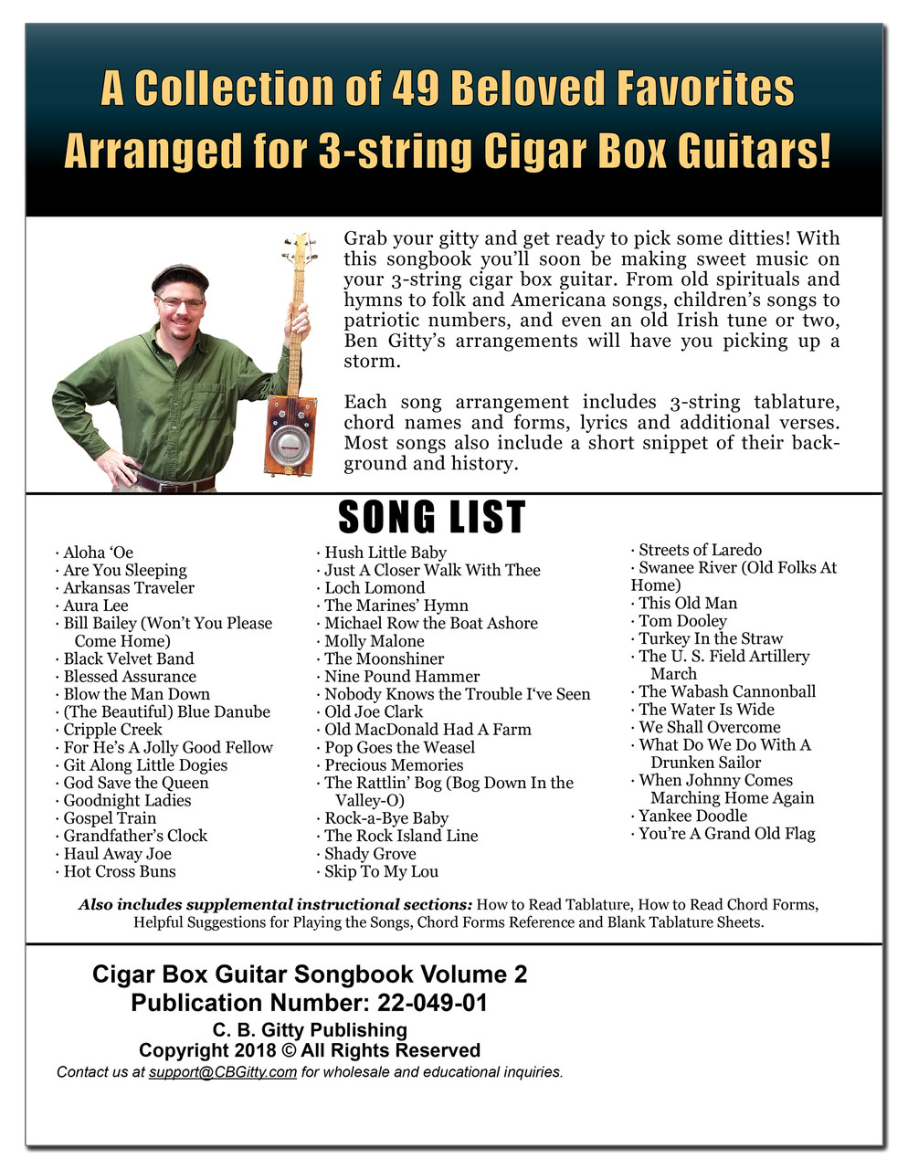 Cigar Box Guitar Songbook - Volume 2: 49 More Songs Arranged for 3-string  Cigar Box Guitars