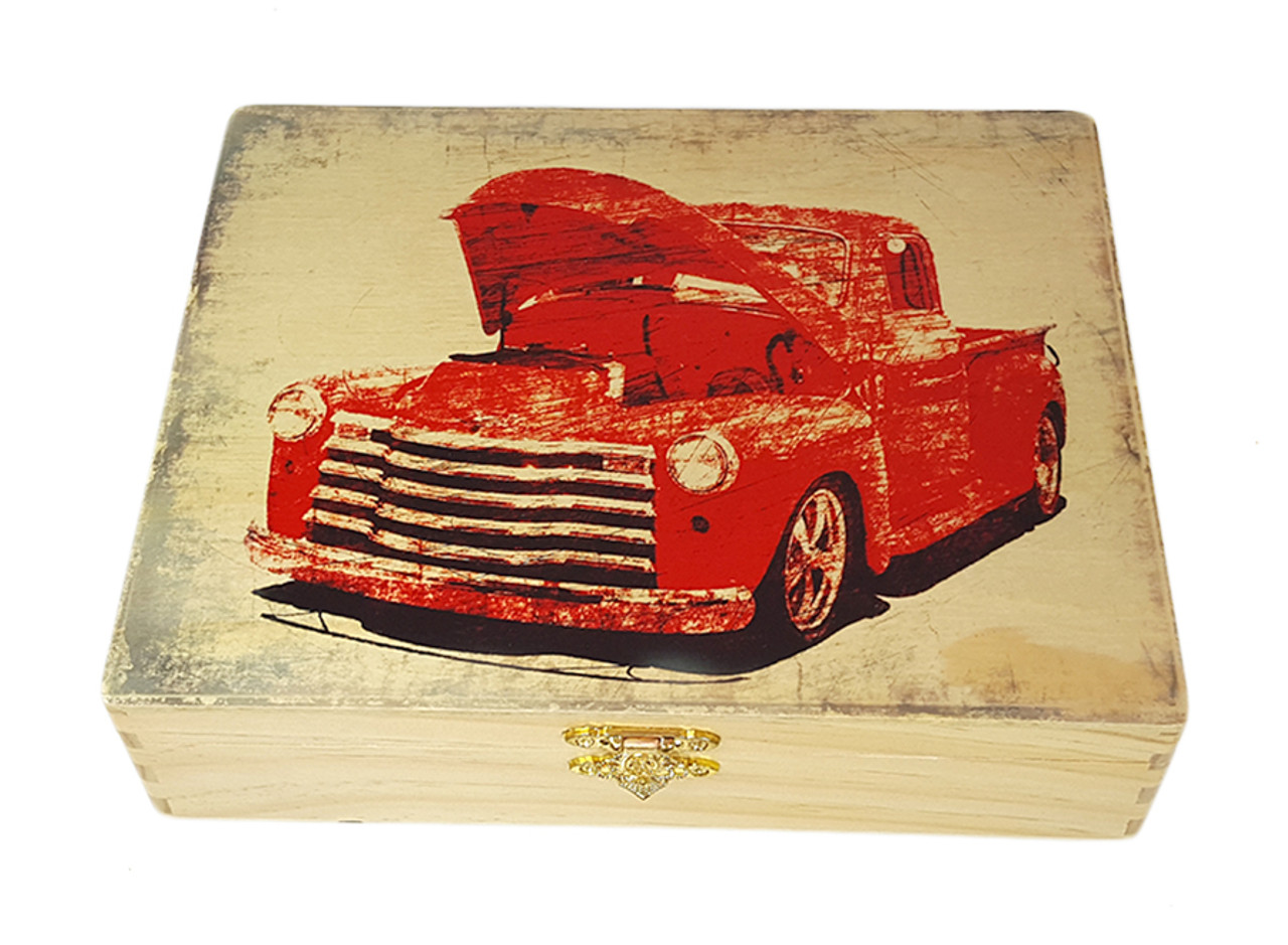 Old Red Truck Illustrated Wooden Cigar Box Image Printed In Full Color Right On The Box Top