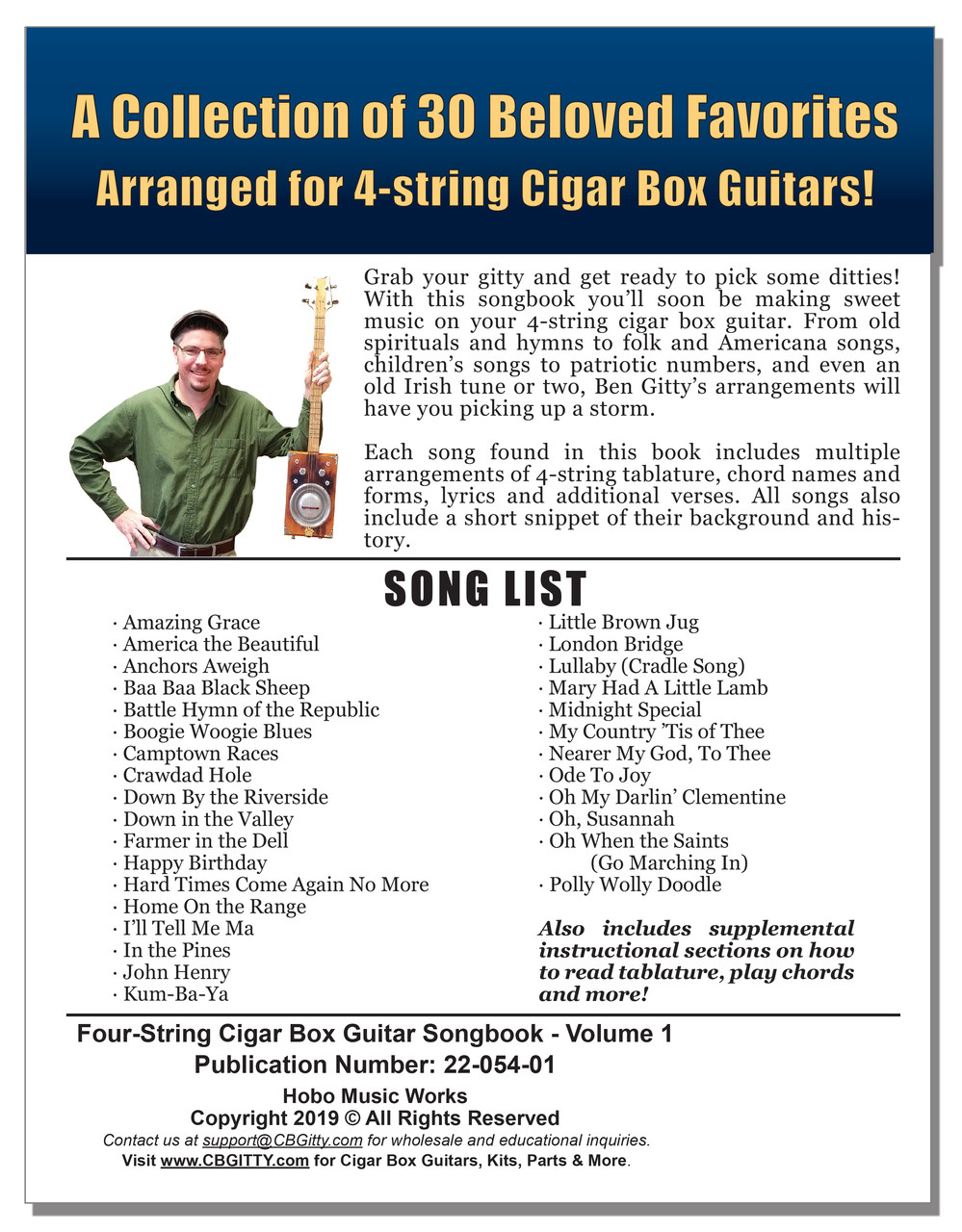 Four-String Cigar Box Guitar Songbook - Vol  1: 150 pages of Songs Arranged  for Open G