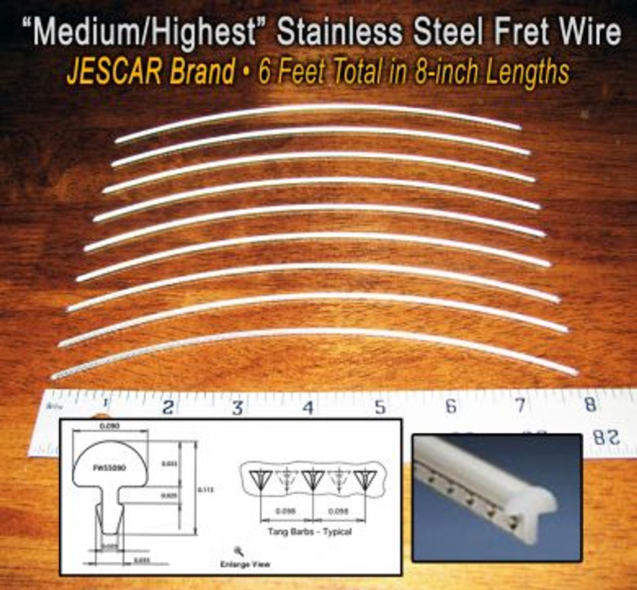 Jescar Stainless Steel Jumbo Six Feet Guitar//Bass Fret Wire