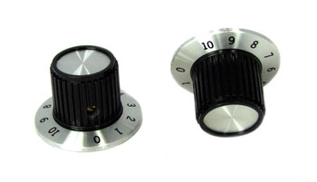 2pc. Large Black and Aluminum Retro-Style Knobs