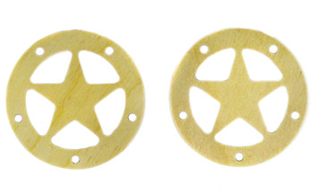 "2pc. 2.5"" Wooden Sound Hole Covers - Birch Lone Star"