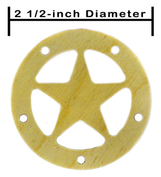 """8pc. 2.5"""" Wooden Sound Hole Covers - Birch Lone Star"""
