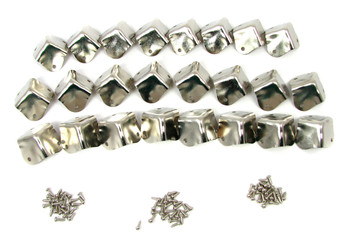 24pc. Square Nickel-plated Box Corners with Screws