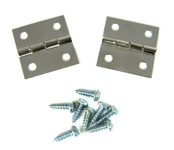 2pc. Nickel-Plated Square Hinges
