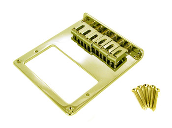 Telecaster-Style Bottom-Loading Gold Electric Guitar Bridge Plate for Humbuckers