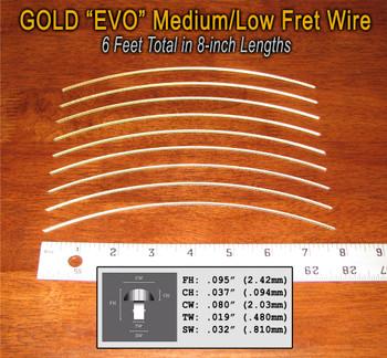 Jescar Medium/Low Gold EVO Fret Wire (6 ft)