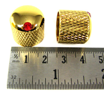 8-pack Gold Dome Knobs with Ruby Indicators