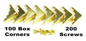 100pc. Bulk-pack Shiny Brass Box Corners with Screws (Crimped Back)