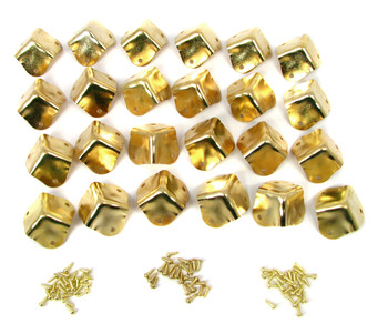 24pc. Square Brass-plated Box Corners
