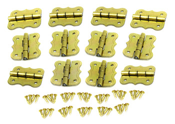 12pc. Small Brass-plated Butterfly Hinges with Brads