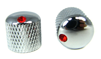 2-pack Chrome Dome Knobs with Ruby Indicators