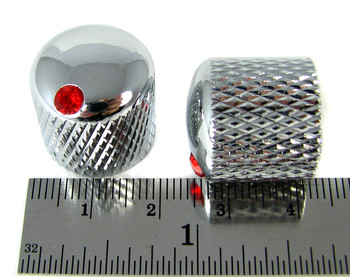 8-pack Chrome Dome Knobs with Ruby Indicators