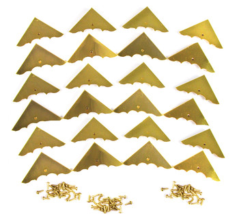 24pc. Shiny Gold Box Corners with Screws