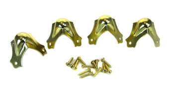 4pc. Medium Brass Trunk Corners with Screws