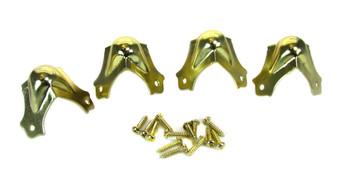 4pc. Medium Brass Trunk Corners with Screws