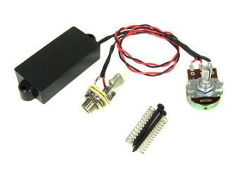 Black Enclosed 4-Pole Single Coil Pre-Wired Pickup Harness w/ Volume Control
