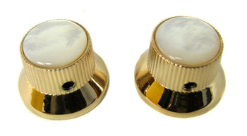 2-pack Shiny Gold Top Hat Knobs with White Pearl Tops