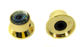 2-pack Shiny Gold Top Hat Knobs with Abalone Tops