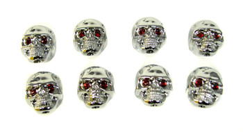 "8pc. Chrome ""Voodoo Skull"" Knobs  with red ruby eyes"