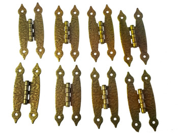 """8pc. Antique Brass Colonial-Style """"H"""" Hinges with Screws - 3 1/2"""""""