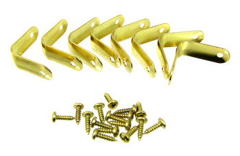 "8pc. Brass-plated Corner Braces with Screws (1 1/4"" x 1/2"")"