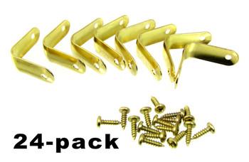 """24pc. Brass-plated Corner Braces with Screws (1 1/4"""" x 1/2"""")"""