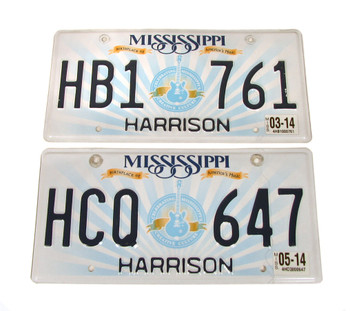 "Pair of Mississippi Guitar ""Birthplace of America's Music"" License Plates"