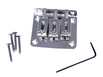 3-string Chrome Hard-tail Bridge for Cigar Box Guitars & More