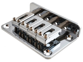 4-string Chrome Hard-tail Bridge for Cigar Box Guitars & More
