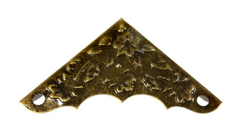 8pc. Antique Brass Box Corners with Decorative Leaf Design