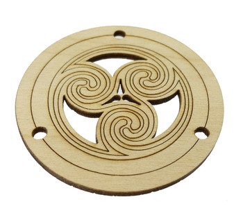 "2pc. Celtic/Irish ""Triskell"" Design Sound Hole Covers for Cigar Box Guitars - 2.5"" Diameter"