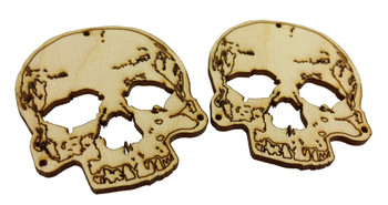 "2pc. Skull Sound Hole Covers for Cigar Box Guitars - Laser-cut 1/8"" Birch Ply"