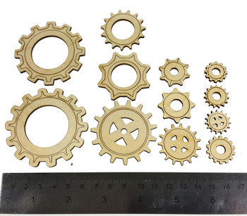 12pc. set Wooden Gears - Great for Sound Holes, Steampunk Designs, Decorative Uses & More!