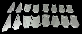 All 16 templates: 8 different designs, in both smaller 3-string and larger 4-string versions.